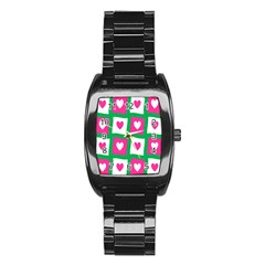 Pink Hearts Valentine Love Checks Stainless Steel Barrel Watch
