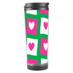 Pink Hearts Valentine Love Checks Travel Tumbler