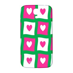 Pink Hearts Valentine Love Checks Samsung Galaxy S4 I9500/i9505  Hardshell Back Case