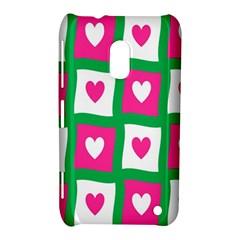 Pink Hearts Valentine Love Checks Nokia Lumia 620 by Nexatart