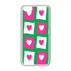 Pink Hearts Valentine Love Checks Apple Iphone 5c Seamless Case (white)
