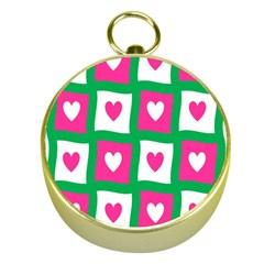 Pink Hearts Valentine Love Checks Gold Compasses