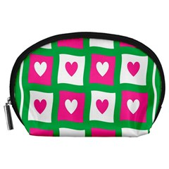 Pink Hearts Valentine Love Checks Accessory Pouches (large)