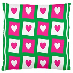 Pink Hearts Valentine Love Checks Large Flano Cushion Case (two Sides)