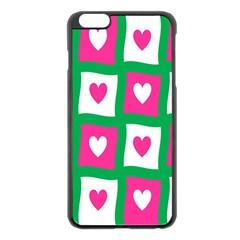 Pink Hearts Valentine Love Checks Apple Iphone 6 Plus/6s Plus Black Enamel Case