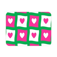 Pink Hearts Valentine Love Checks Double Sided Flano Blanket (mini)