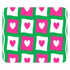 Pink Hearts Valentine Love Checks Double Sided Flano Blanket (small)
