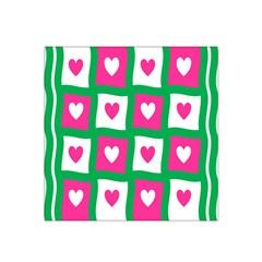 Pink Hearts Valentine Love Checks Satin Bandana Scarf