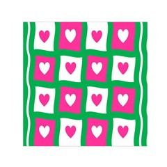 Pink Hearts Valentine Love Checks Small Satin Scarf (square)