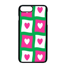 Pink Hearts Valentine Love Checks Apple Iphone 7 Plus Seamless Case (black)