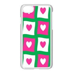 Pink Hearts Valentine Love Checks Apple Iphone 7 Seamless Case (white) by Nexatart