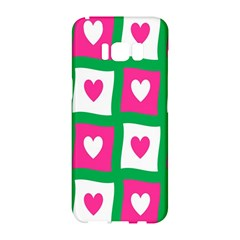 Pink Hearts Valentine Love Checks Samsung Galaxy S8 Hardshell Case  by Nexatart