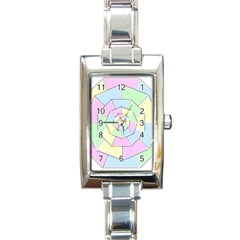 Color Wheel 3d Pastels Pale Pink Rectangle Italian Charm Watch