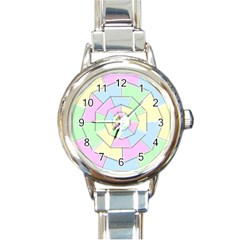Color Wheel 3d Pastels Pale Pink Round Italian Charm Watch