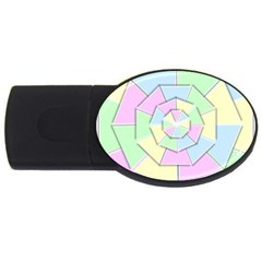 Color Wheel 3d Pastels Pale Pink Usb Flash Drive Oval (2 Gb)