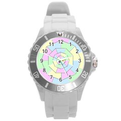 Color Wheel 3d Pastels Pale Pink Round Plastic Sport Watch (l)