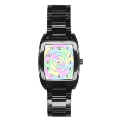 Color Wheel 3d Pastels Pale Pink Stainless Steel Barrel Watch