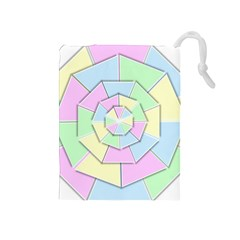 Color Wheel 3d Pastels Pale Pink Drawstring Pouches (medium)