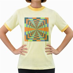 Fabric 3d Color Blocking Depth Women s Fitted Ringer T Shirts