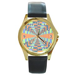 Fabric 3d Color Blocking Depth Round Gold Metal Watch
