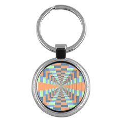 Fabric 3d Color Blocking Depth Key Chains (round)