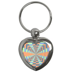Fabric 3d Color Blocking Depth Key Chains (heart)