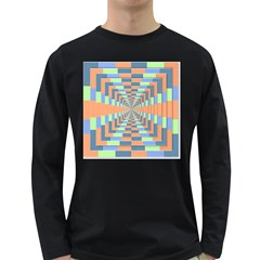 Fabric 3d Color Blocking Depth Long Sleeve Dark T Shirts
