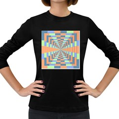 Fabric 3d Color Blocking Depth Women s Long Sleeve Dark T Shirts