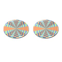 Fabric 3d Color Blocking Depth Cufflinks (oval)