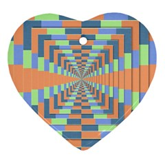 Fabric 3d Color Blocking Depth Heart Ornament (two Sides)