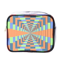 Fabric 3d Color Blocking Depth Mini Toiletries Bags