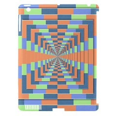 Fabric 3d Color Blocking Depth Apple Ipad 3/4 Hardshell Case (compatible With Smart Cover)