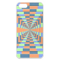 Fabric 3d Color Blocking Depth Apple Iphone 5 Seamless Case (white)