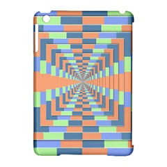 Fabric 3d Color Blocking Depth Apple Ipad Mini Hardshell Case (compatible With Smart Cover)