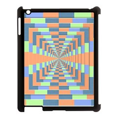 Fabric 3d Color Blocking Depth Apple Ipad 3/4 Case (black)