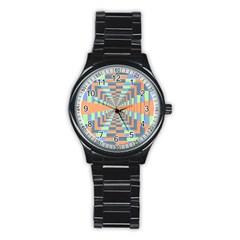 Fabric 3d Color Blocking Depth Stainless Steel Round Watch