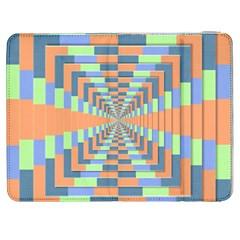 Fabric 3d Color Blocking Depth Samsung Galaxy Tab 7  P1000 Flip Case