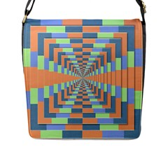 Fabric 3d Color Blocking Depth Flap Messenger Bag (l)