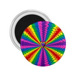 Rainbow Hearts 3d Depth Radiating 2 25  Magnets