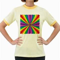 Rainbow Hearts 3d Depth Radiating Women s Fitted Ringer T Shirts
