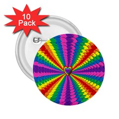 Rainbow Hearts 3d Depth Radiating 2 25  Buttons (10 Pack)