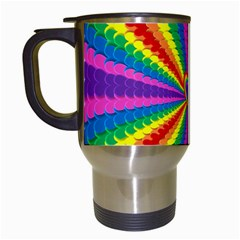 Rainbow Hearts 3d Depth Radiating Travel Mugs (white)
