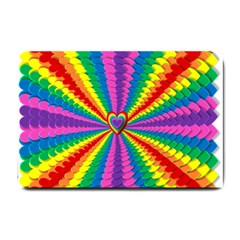 Rainbow Hearts 3d Depth Radiating Small Doormat