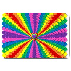 Rainbow Hearts 3d Depth Radiating Large Doormat
