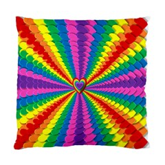 Rainbow Hearts 3d Depth Radiating Standard Cushion Case (two Sides)