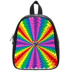 Rainbow Hearts 3d Depth Radiating School Bag (small)