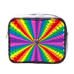 Rainbow Hearts 3d Depth Radiating Mini Toiletries Bags