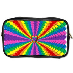 Rainbow Hearts 3d Depth Radiating Toiletries Bags 2 Side by Nexatart