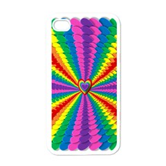 Rainbow Hearts 3d Depth Radiating Apple Iphone 4 Case (white)