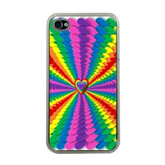 Rainbow Hearts 3d Depth Radiating Apple Iphone 4 Case (clear)